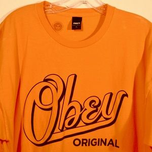 OBEY Original T Shirt Tee Orange XL